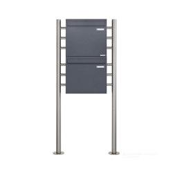 Basic | 2er 2x1 Standbriefkasten als Zaunbriefkasten in Anthrazitgrau BASIC 381Z-ST-R - Entnahme rückseitig | Mailboxes | Briefkasten Manufaktur