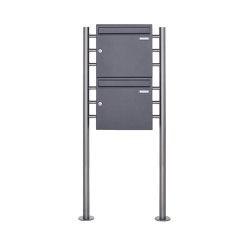 Basic | 2er 2x1 Standbriefkasten Design BASIC 381 ST-R - DB703 eisenglimmer 100mm Tiefe | Mailboxes | Briefkasten Manufaktur