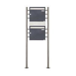Basic | 2er 2x1 Standbriefkasten Design BASIC 381 ST-R mit 1x Zeitungsfach - Edelstahl-RAL 7016 anthrazit Mitte | Mailboxes | Briefkasten Manufaktur