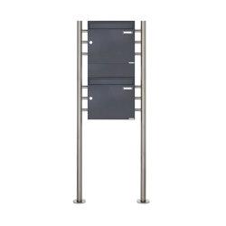 Basic | 2er 2x1 Standbriefkasten Design BASIC 381 ST-R mit 1x Zeitungsfach - RAL 7016 anthrazitgrau | Mailboxes | Briefkasten Manufaktur