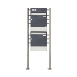 Basic | 2er 2x1 Standbriefkasten Design BASIC 381 ST-R mit Klingelkasten & Zeitungsfach - Edelstahl-RAL 7016 | Mailboxes | Briefkasten Manufaktur