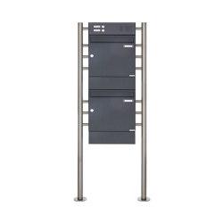 Basic | 2er 2x1 Standbriefkasten Design BASIC 381 ST-R mit Klingelkasten & Zeitungsfach - RAL 7016 anthrazit | Mailboxes | Briefkasten Manufaktur