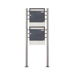 Basic | 2er 2x1 Standbriefkasten Design BASIC 381 ST-R mit Zeitungsfächer - Edelstahl-RAL 7016 anthrazitgrau | Mailboxes | Briefkasten Manufaktur