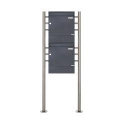 Basic | 2er 2x1 Standbriefkasten Design BASIC 381 ST-R mit Zeitungsfächer - RAL 7016 anthrazitgrau | Mailboxes | Briefkasten Manufaktur