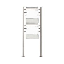 Basic | 2er 2x1 Standbriefkasten Design BASIC 381 ST-R mit Zeitungsfächer - RAL 9016 verkehrsweiß | Mailboxes | Briefkasten Manufaktur