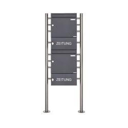 Basic | 2er 2x1 Standbriefkasten Design BASIC 381 ST-R mit Zeitungsfach geschlossen - RAL 7016 anthrazitgrau 100mm Tiefe | Mailboxes | Briefkasten Manufaktur