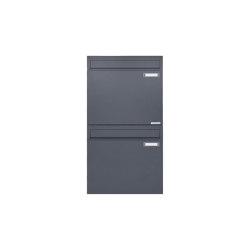 Basic | 2er 2x1 Zaunbriefkasten Design BASIC 382Z - RAL 7016 anthrazitgrau - Entnahme rückseitig | Mailboxes | Briefkasten Manufaktur