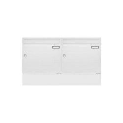 Basic | 2er Aufputz Briefkasten BASIC 382A AP Waagerecht mit Zeitungsfach - RAL 9016 verkehrsweiß | Mailboxes | Briefkasten Manufaktur