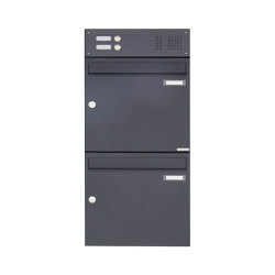 Basic | 2er Aufputz Briefkasten Design BASIC 382A AP mit Klingelkasten - RAL 7016 anthrazitgrau Oben 100mm Tiefe | Mailboxes | Briefkasten Manufaktur