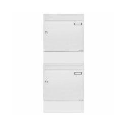 Basic | 2er Aufputz Briefkasten Design BASIC 382A AP mit Zeitungsfach - RAL 9016 verkehrsweiß | Mailboxes | Briefkasten Manufaktur