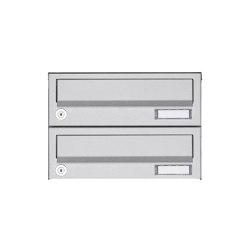 Basic | 2er Aufputz Briefkastenanlage Design BASIC 385A AP - Edelstahl V2A, geschliffen | Mailboxes | Briefkasten Manufaktur
