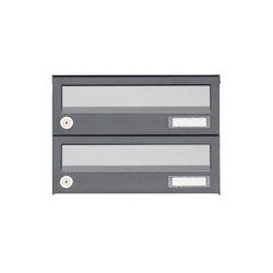 Basic | 2er Aufputz Briefkastenanlage Design BASIC 385A AP - Edelstahl-RAL 7016 anthrazitgrau | Mailboxes | Briefkasten Manufaktur