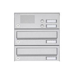 Basic | 2er Aufputz Briefkastenanlage Design BASIC 385A AP mit Klingelkasten - Edelstahl V2A, geschliffen | Mailboxes | Briefkasten Manufaktur