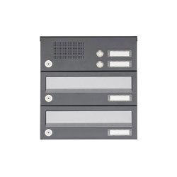 Basic | 2er Aufputz Briefkastenanlage Design BASIC 385A AP mit Klingelkasten - Edelstahl-RAL 7016 anthrazit | Mailboxes | Briefkasten Manufaktur