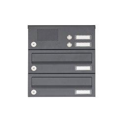 Basic | 2er Aufputz Briefkastenanlage Design BASIC 385A AP mit Klingelkasten - RAL 7016 anthrazitgrau | Mailboxes | Briefkasten Manufaktur