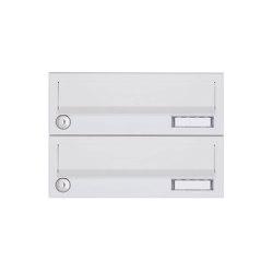 Basic | 2er Aufputz Briefkastenanlage Design BASIC 385A-9016 AP - RAL 9016 verkehrsweiß | Mailboxes | Briefkasten Manufaktur