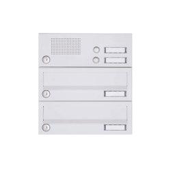 Basic | 2er Aufputz Briefkastenanlage Design BASIC 385A-9016 AP mit Klingelkasten - RAL 9016 verkehrsweiß | Mailboxes | Briefkasten Manufaktur