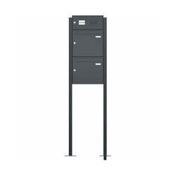 Basic | 2er Briefkastenanlage BASIC 536-SP freistehend - Klingel- Funktionskasten - RAL nach Wahl 2,00m zum Einbetonieren Sprechlochung mit Universaladapter | Mailboxes | Briefkasten Manufaktur