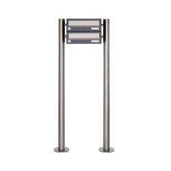 Basic | 2er Briefkastenanlage freistehend Design BASIC 385 ST-R - Edelstahl-RAL 7016 anthrazitgrau | Mailboxes | Briefkasten Manufaktur
