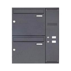Basic | 2er Edelstahl Aufputz Briefkasten BASIC Plus 592C AP pulverbeschichtet - Klingelkasten - INDIVIDUELL Rechts | Mailboxes | Briefkasten Manufaktur