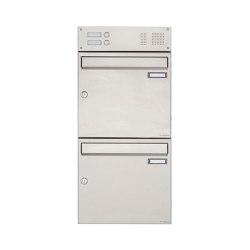 Basic | 2er Edelstahl Aufputz Briefkasten Design BASIC 382A AP mit Klingelkasten Oben 100mm Tiefe | Mailboxes | Briefkasten Manufaktur