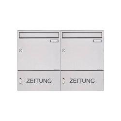 Basic | 2er Edelstahl Aufputz Briefkasten Design BASIC 382A AP mit Zeitungsfach geschlossen 100mm Tiefe | Mailboxes | Briefkasten Manufaktur
