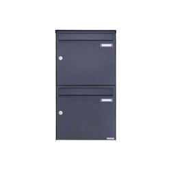 Basic   2er Edelstahl Aufputz Briefkasten Design BASIC Plus 382XA AP - RAL nach Wahl 100mm Tiefe   Mailboxes   Briefkasten Manufaktur