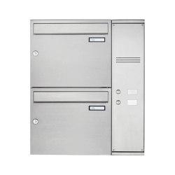 Basic | 2er Edelstahl Aufputz Briefkasten Design BASIC Plus 592C AP mit Klingelkasten - INDIVIDUELL Rechts | Mailboxes | Briefkasten Manufaktur