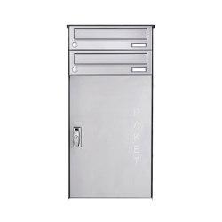 Basic   2er Edelstahl Aufputz Paketbriefkasten BASIC 863 AP mit Paketfach 550x370   Mailboxes   Briefkasten Manufaktur