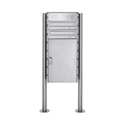 Basic | 2er Edelstahl Paketbriefkasten freistehend BASIC 863 ST-R mit Klingelkasten & Paketfach 550x370 | Mailboxes | Briefkasten Manufaktur