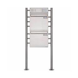 Basic | 2er Edelstahl Standbriefkasten als Zaunbriefkasten Design BASIC 381Z-ST-R - mit Klingelkasten Oben | Mailboxes | Briefkasten Manufaktur