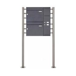 Basic | 2er Edelstahl Standbriefkasten BASIC Plus 593 ST-R pulverbeschichtet - Klingelkasten - INDIVIDUELL Rechts | Mailboxes | Briefkasten Manufaktur