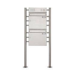 Basic | 2er Edelstahl Standbriefkasten Design BASIC 381 ST-R mit Klingelkasten Oben 100mm Tiefe | Mailboxes | Briefkasten Manufaktur