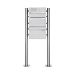 Basic | 2er Edelstahl Standbriefkasten Design BASIC Plus 385 220 ST R mit Klingelkasten | Mailboxes | Briefkasten Manufaktur