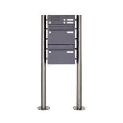 Basic | 2er Edelstahl Standbriefkasten Design BASIC Plus 385 220 ST-R mit Klingelkasten - RAL nach Wahl | Mailboxes | Briefkasten Manufaktur