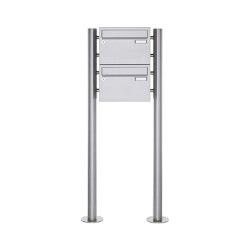 Basic | 2er Edelstahl Standbriefkasten Design BASIC Plus 385 220 X ST R - Edelstahl V2A | Mailboxes | Briefkasten Manufaktur