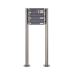 Basic | 2er Edelstahl Standbriefkasten Design BASIC Plus 385 ST-R mit Klingelkasten - RAL nach Wahl | Mailboxes | Briefkasten Manufaktur