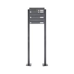 Basic | 2er Edelstahl Standbriefkasten Design BASIC Plus 385 XP SP mit Klingelkasten - RAL nach Wahl | Mailboxes | Briefkasten Manufaktur