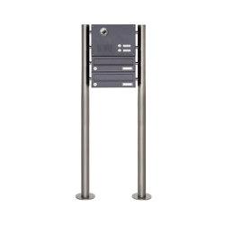 Basic | 2er Edelstahl Standbriefkasten Design BASIC Plus 385KX ST-R mit Klingel & Sprech- Kameravorbereitung | Mailboxes | Briefkasten Manufaktur