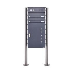 Basic | 2er Paketbriefkasten freistehend BASIC 863 ST-R mit Klingelkasten & Paketfach 550x370 in RAL 7016 | Mailboxes | Briefkasten Manufaktur