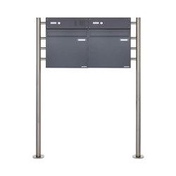 Basic | 2er Standbriefkasten als Zaunbriefkasten BASIC 381Z-K7016 - anthrazitgrau RAL 7016 mit Klingelkasten Oben | Mailboxes | Briefkasten Manufaktur