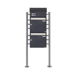 Basic | 2er Standbriefkasten BASIC 383 ST-R mit Klingelkasten & Zeitungsfach - Edelstahl- RAL 7016 anthrazit Oben 100mm Tiefe | Mailboxes | Briefkasten Manufaktur
