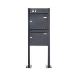 Basic | 2er Standbriefkasten Design BASIC 380 ST-T mit Klingelkasten - RAL 7016 anthrazitgrau 100mm Tiefe | Mailboxes | Briefkasten Manufaktur