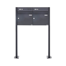 Basic | 2er Standbriefkasten Design BASIC 380 W ST-T mit Klingelkasten - RAL 7016 anthrazitgrau 100mm Tiefe | Mailboxes | Briefkasten Manufaktur
