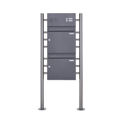 Basic | 2er Standbriefkasten Design BASIC 381 ST-R mit Klingelkasten - DB703 eisenglimmer Oben 100mm Tiefe | Mailboxes | Briefkasten Manufaktur