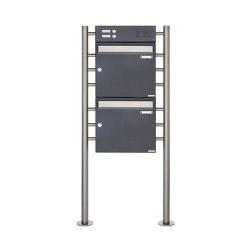 Basic | 2er Standbriefkasten Design BASIC 381 ST-R mit Klingelkasten - Edelstahl-RAL 7016 anthrazitgrau Oben 100mm Tiefe | Mailboxes | Briefkasten Manufaktur