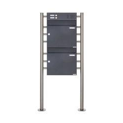 Basic | 2er Standbriefkasten Design BASIC 381 ST-R mit Klingelkasten - RAL 7016 anthrazitgrau Oben 100mm Tiefe | Mailboxes | Briefkasten Manufaktur