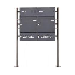 Basic | 2er Standbriefkasten Design BASIC 381 ST-R mit Klingelkasten & Zeitungsablage - RAL 7016 anthrazit 100mm Tiefe | Mailboxes | Briefkasten Manufaktur