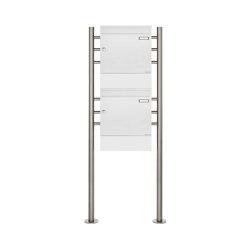 Basic | 2er Standbriefkasten Design BASIC 381 ST-R mit Zeitungsfächer - RAL 9016 verkehrsweiß | Mailboxes | Briefkasten Manufaktur