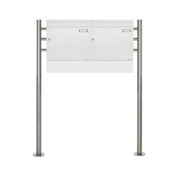 Basic | 2er Standbriefkasten Design BASIC 381 ST-R Waagerecht mit Zeitungsfächer - RAL 9016 verkehrsweiß | Mailboxes | Briefkasten Manufaktur